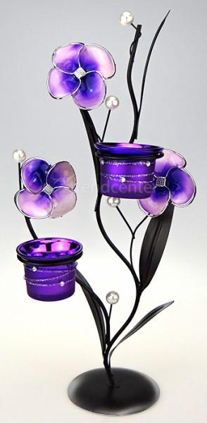deko teelichthalter blume 38cm lila kerzenhalter metall. Black Bedroom Furniture Sets. Home Design Ideas