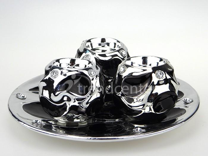 keramik deko kerzenhalter set 4 teilig mit teller rund. Black Bedroom Furniture Sets. Home Design Ideas