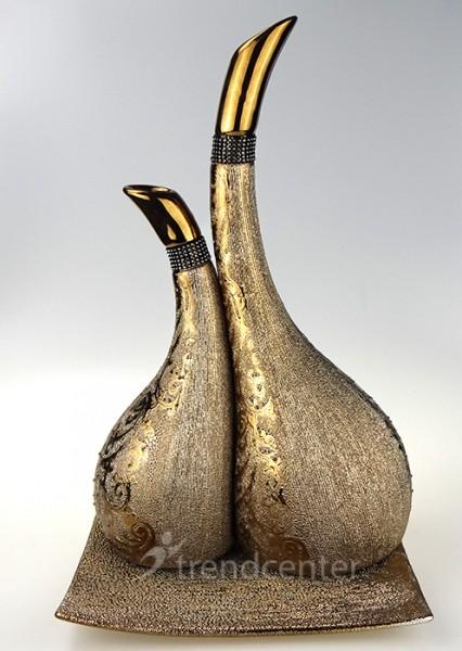 3 tlg dekorative designer deko vasen set keramik bronze ebay. Black Bedroom Furniture Sets. Home Design Ideas